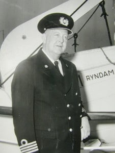 Captain Van blokland on board the ss Ryndam (II) late in his career.