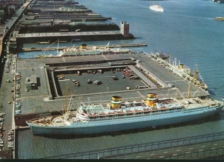 This photo shows Pier 40 with the ss Nieuw Amsterdam (front), ms Noordam (side) and ms Oranje (top) docked at this occcasion in New York.