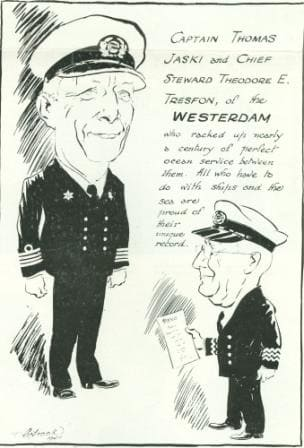 capt Jaski thomas cartoon in 1946 maiden voyage Westerdam web