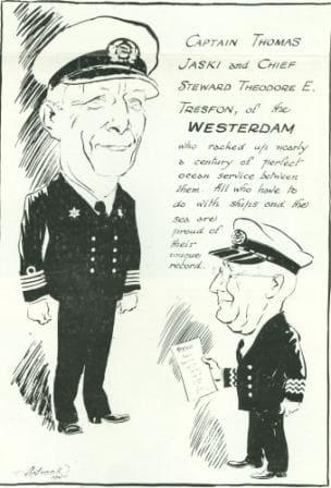 capt Jaski thomas cartoon in 1946 maiden voyage Westerdam web