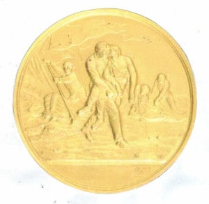 The small Gold medal as issued for rescues at sea