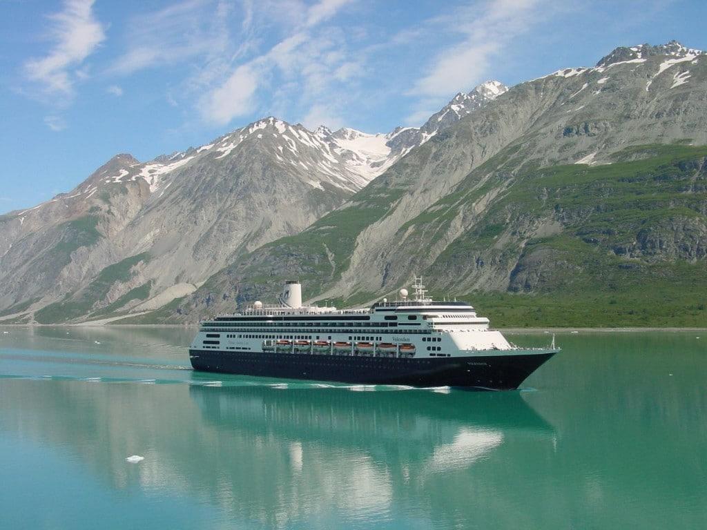 The ms Volendam III in Glacier Bay as taken from the Statendam V in the summer of 2013. Photo courtesy: Hotel Director Bert van den Macklenburgh