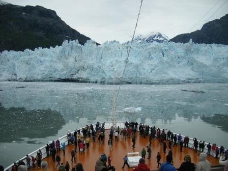 Nose to nose with Marjorie Glacier. It was overcast so perfect weather for photos