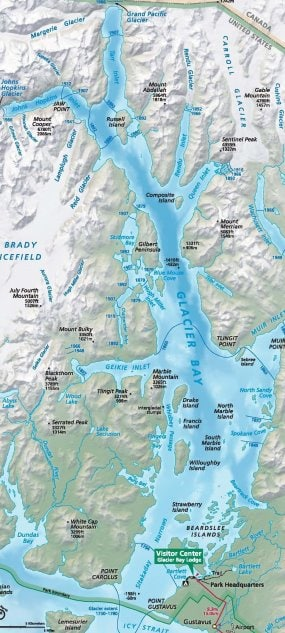 Glacier Bay National Park. Near the green bit in the chart is the narrow area in the lower bay with high currents