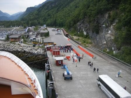 Skagway Rail road dock fwd. In the distance the train that takes the guests on the Trail of 98