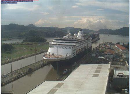 The Veendam on the Panama Canal Webcam.  (Courtesy of Lesley Schoonderbeek)