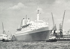 As the ss Rotterdam V looked like in 1976. Seen here departing from Rotterdam port