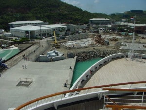 From the bridge of the Maasdam in 2002. Crown Bay cruise centre under construction.