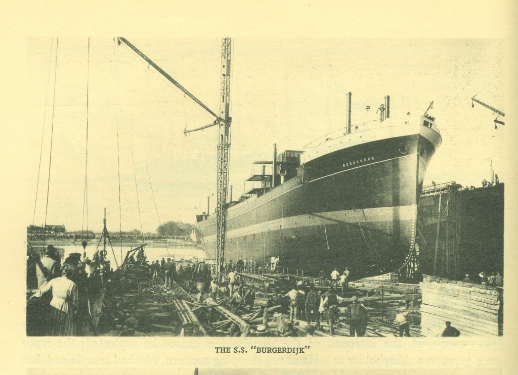 The ss Burgerdijk about to be launched.