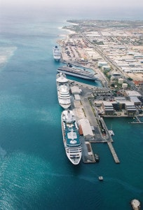 Full house in Oranjestad. Terminal C is where the 2nd large ship is docked.