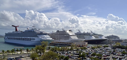 San Juan is a very popular cruise port and on mid week days all docks can be occupied with mega liners
