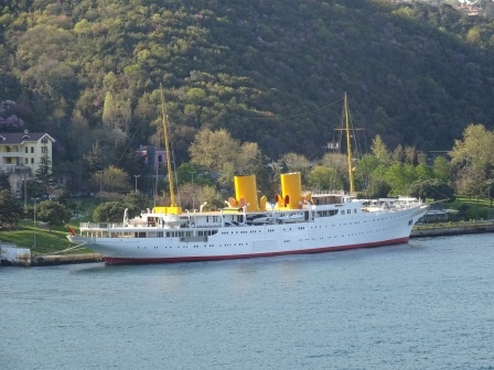 The Turkish National Yacht ms Savarona. Once bought as a gift to the founder of modern Turkey Kemal AtaTurk.