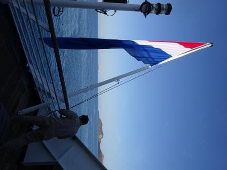 Holland Glory, bright new and clean hoisted from the stern at 08.00 hrs, as per protocol