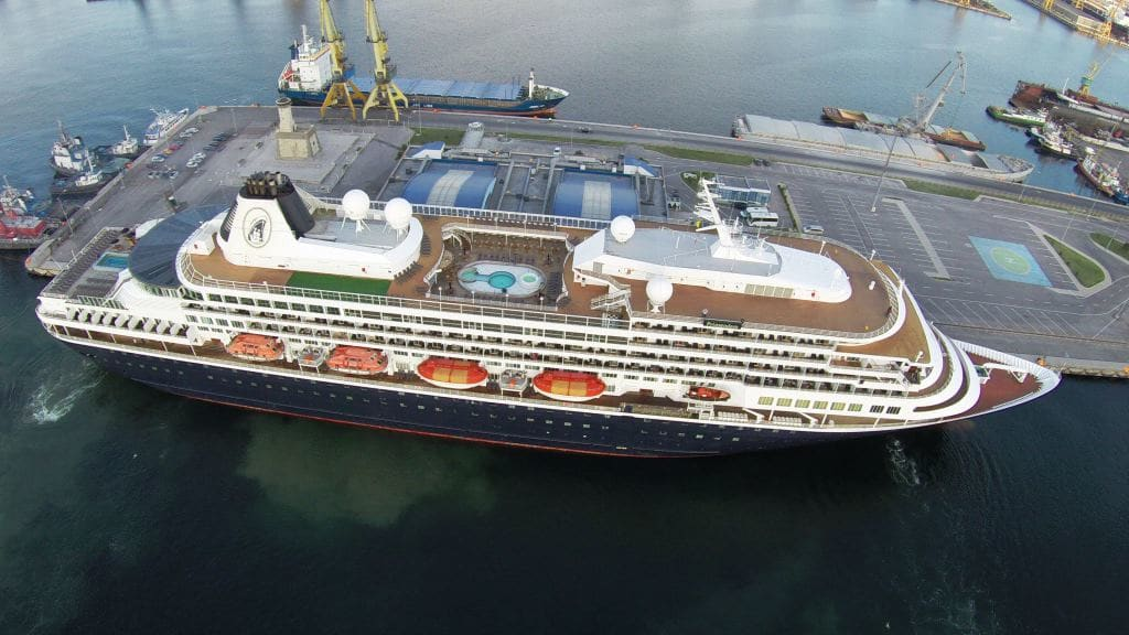 Airial Drone view of the Prinsendam. Taken by an unknown spy. (Courtesy: via Capt. Tim Roberts)