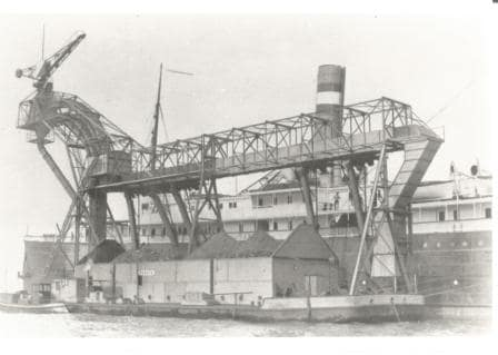 Another view  of the ss Warsawa at the coaling station. There are very view photos of the ship available,