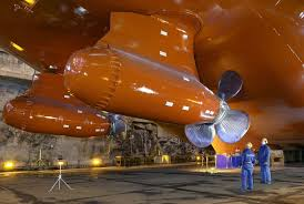 Pods are unusual in the way that the propeller is in the front. It pulls the ship forward instead of pushing it as a conventional propeller does.