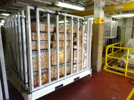 How about this? A whole pallet of Hamburger buns going ashore.