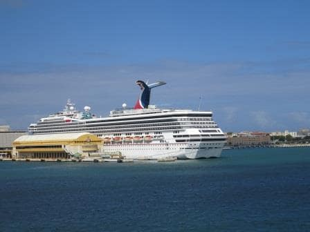The Carnival Glory keeping us nicely out of the Easterly Trade Wind