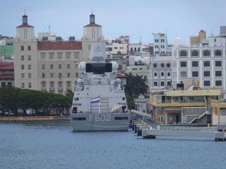 The  Royal Dutch Navy Frigate De Zeven Provincien docked at Pier 1.