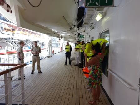 """A quick check on the cheat sheet in order not to for get anything and then it is time to train the newly boarded crew who will get a special """"welcome instruction"""""""