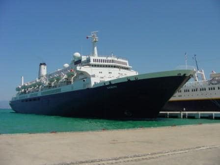 The ms Noordam III. Photo taken at Kusidasi in 2001. (Photo courtesy Capt. Albert Schoonderbeek)