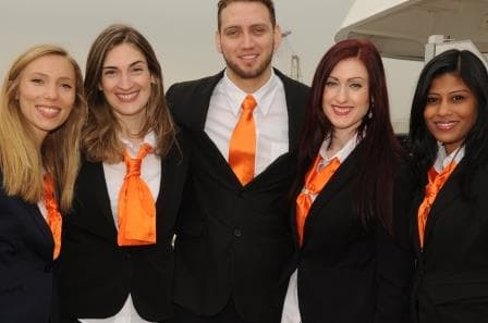 Some of the Shop Staff on board looking very spiffy with the Orange ties.