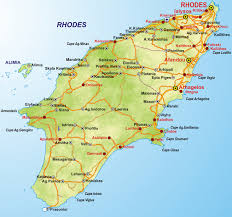 Rhodes town is located at the top of the island.