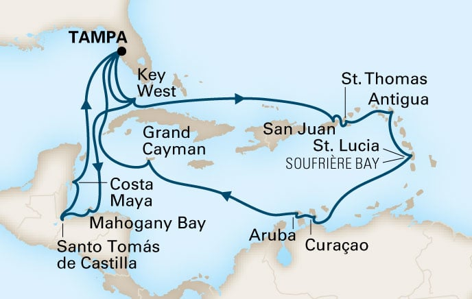 This cruise we do the West Carib loop again. Approx. 330 guests are doing a back to back and will thus have done both loops by December 16.