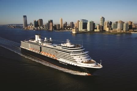 MS Eurodam as seen departing from New York earlier in her career. (Photo courtesy Holland America Line)