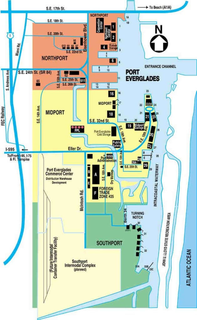 The lay out of the port of Port Everglades.