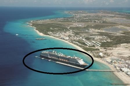The ms Noordam docked at Grand Turk during the inaugural call for Pier & ship. Note that the encircled area s the only deep water space available for the ship. Not much more than two ships widths.