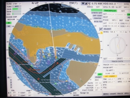 And how the port now looks as seen on the electronic chart on the Radar. The whole greyish/brown area on the right is reclaimed land and now the local airport.
